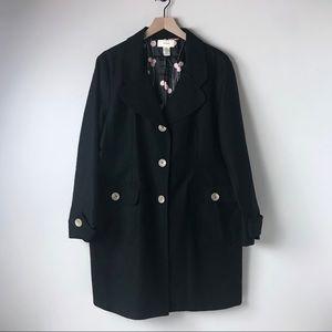 Merona blackTrench Coat women's XL pink lining